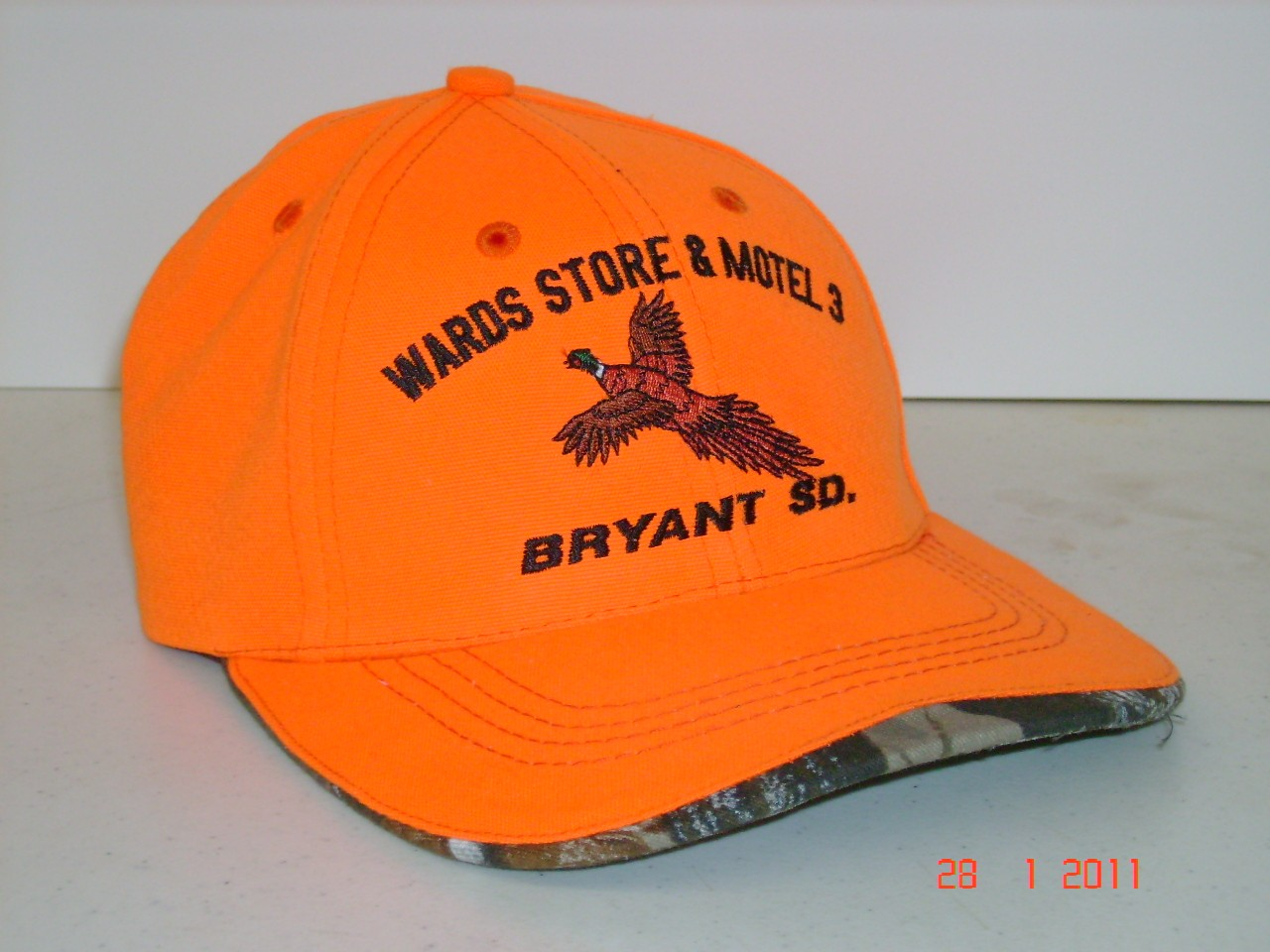 Blaze Orange Cap/Hat with Pheasant