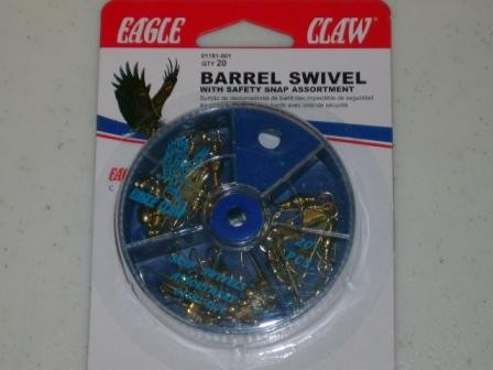 Eagle Claw Barrel Swivel with Saftey Snap